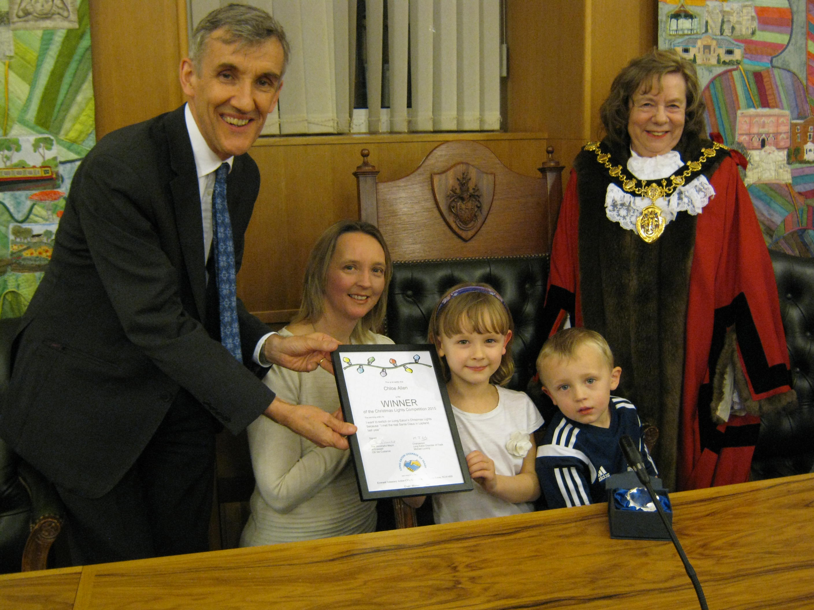 Michael Lucking, Chloe Allen, Mayor of Erewash Councillor Val Custance