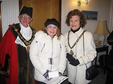 Mayor of Erewash Councillor Robert Parkinson, Lauren Fletcher and the Mayoress of Erewash