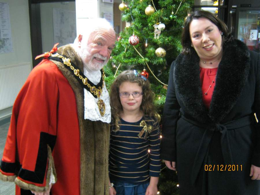 Mayor Kevin Miller, Emma Louise Ellis and MP Jessica Lee