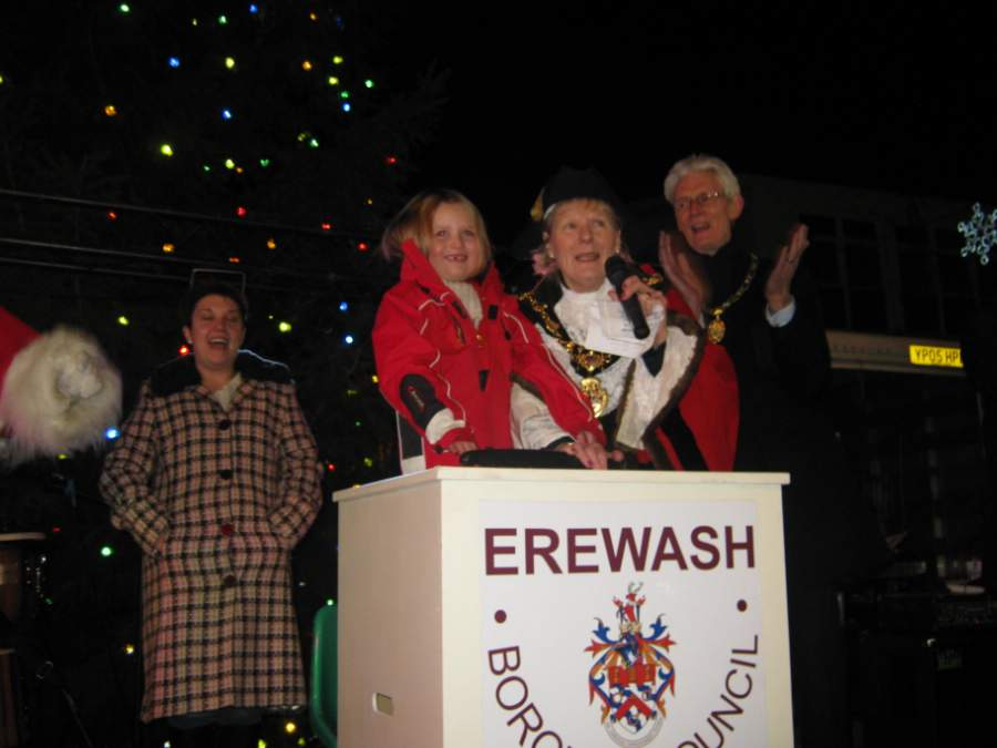 Jamie Goodband switching on Long Eaton Christmas lights