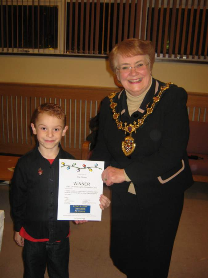 Kai Glover and Mayor of Erewash Cllr Val Clare